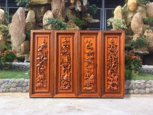 Bộ tranh tứ quý tùng cúc trúc mai gỗ hương đỏ cao cấp - TGPX2132