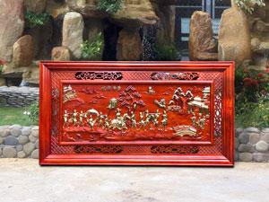 Tranh gỗ hương Vinh Quy Bái Tổ dát vàng kích thước 1m27 - TGPX2004