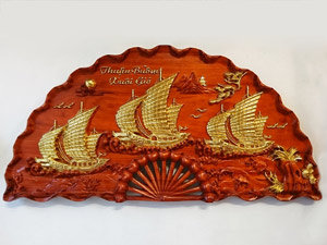 Tranh quạt gỗ Thuận Buồm Xuôi Gió dát vàng 1m - TGPX2029