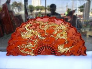 Tranh quạt gỗ Tứ Linh dát vàng đường kính 1m - TGPX2025