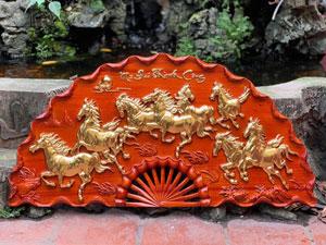 Tranh quạt Mã Đáo Thành Công dát vàng 1m - TGPX2017