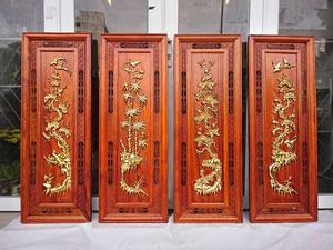 Tranh tứ quý bằng gỗ hương thếp vàng 110cm x 40cm - TGPX2239