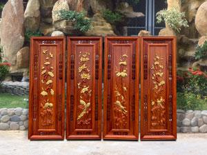 Bộ tranh tứ quý Tùng Cúc Trúc Mai gỗ hương dát vàng - TGPX2120