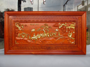 Tranh Vinh Quy Bái Tổ Gỗ Hương Dát Vàng 1m27 - TGPX2049