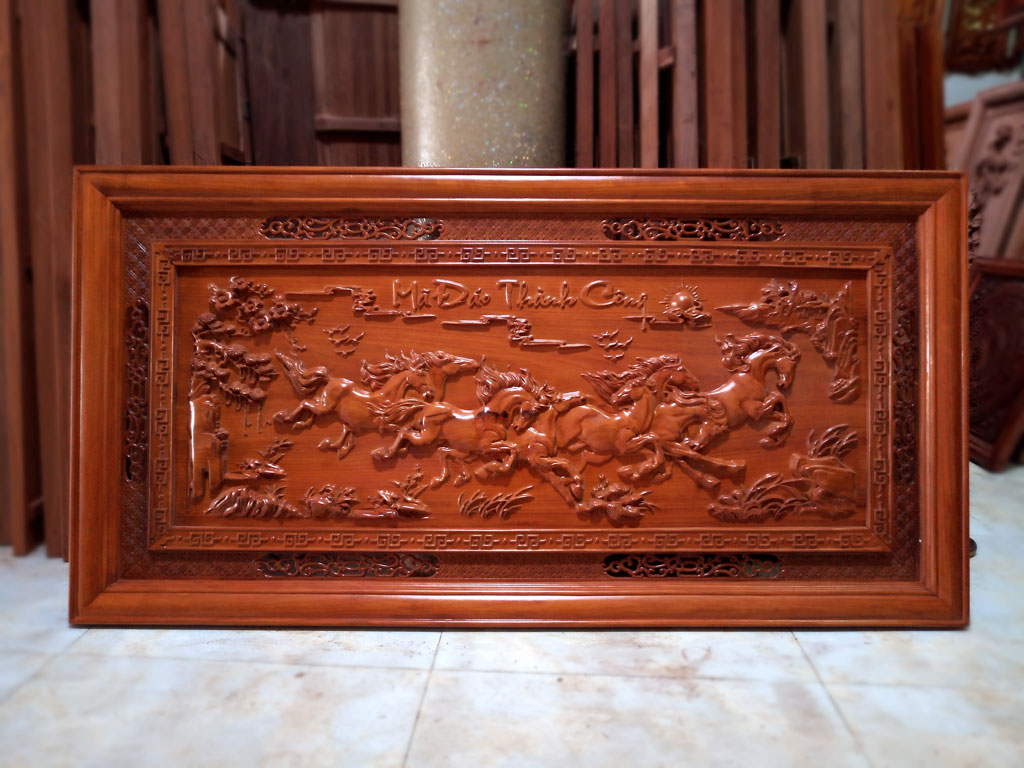 Tranh gỗ Bát Mã Truy Phong kích thước 1m55 - TGPX2112PU