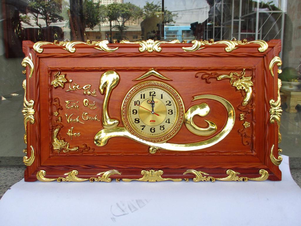 Tranh đồng hồ gỗ Chữ Lộc thư pháp thếp vàng 88cm x 48cm - TGPX2281