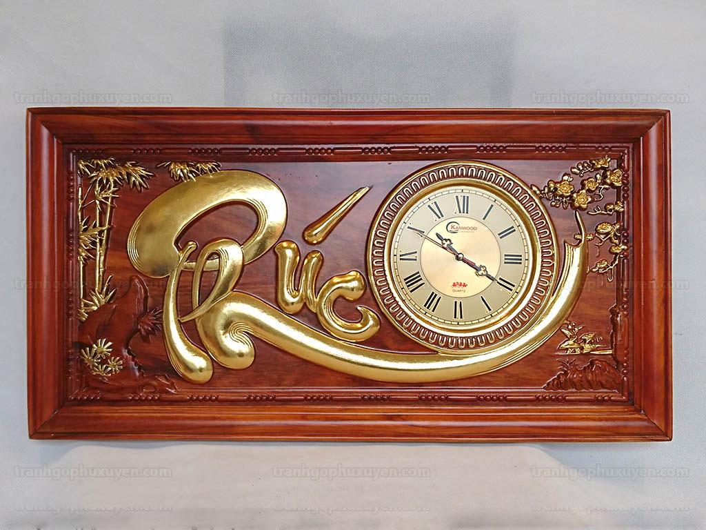 Tranh Gỗ Đồng Hồ Chữ Phúc Thếp Vàng 81cm x 41cm - TGPX2001