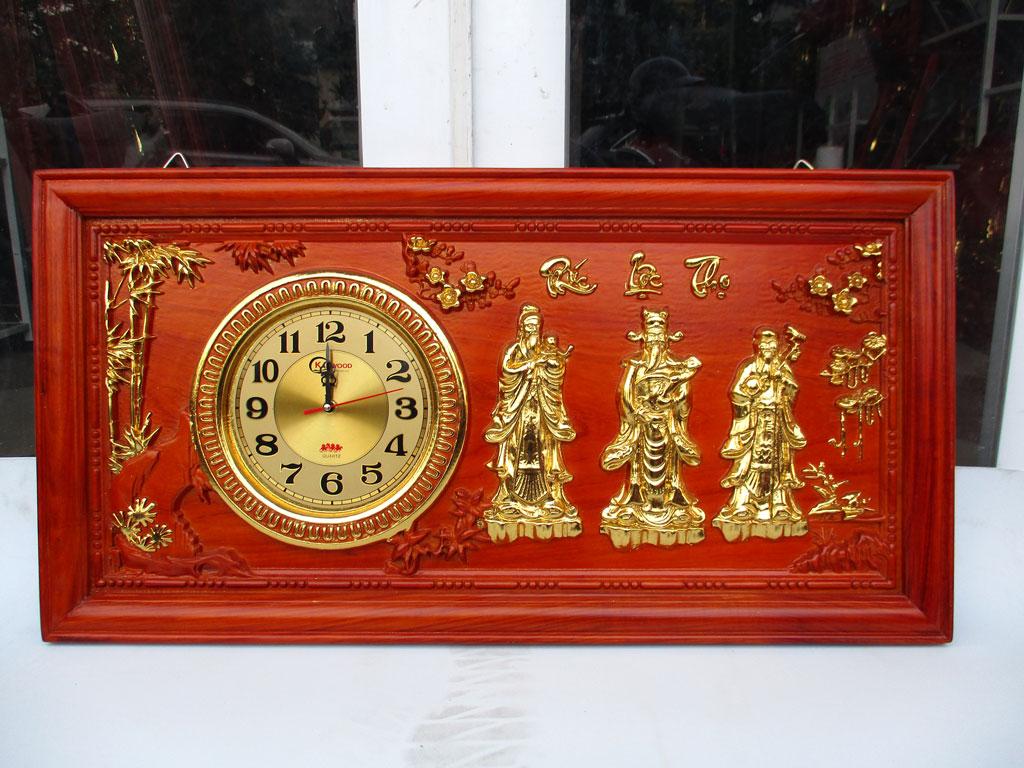 Tranh gỗ đồng hồ Phúc Lộc Thọ dát vàng 81cm - TGPX2089