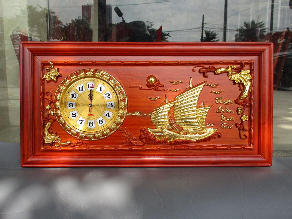 Tranh gỗ đồng hồ Thuận Buồm Xuôi Gió 81cm x 41cm - TGPX2002-1