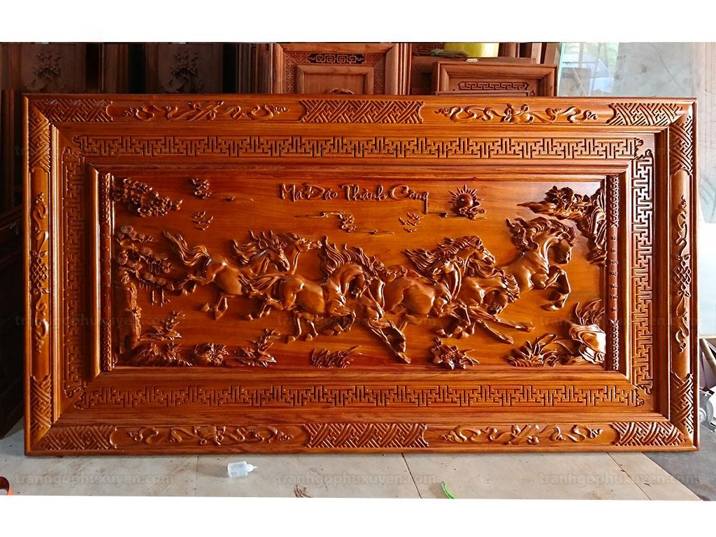 Tranh gỗ Mã Đáo Thành Công loại đẹp 1m55 - TGPX2224PU