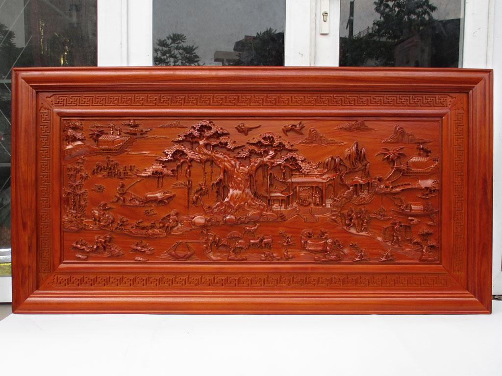 Tranh phong cảnh đồng quê gỗ hương đỏ nam phi 155cm x 79cm - TGPX2259PU