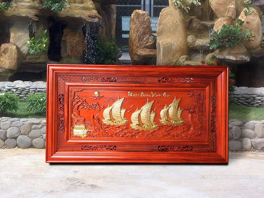 Tranh Gỗ Thuận Buồm Xuôi Gió Dát Vàng 1m27 - TGPX2129