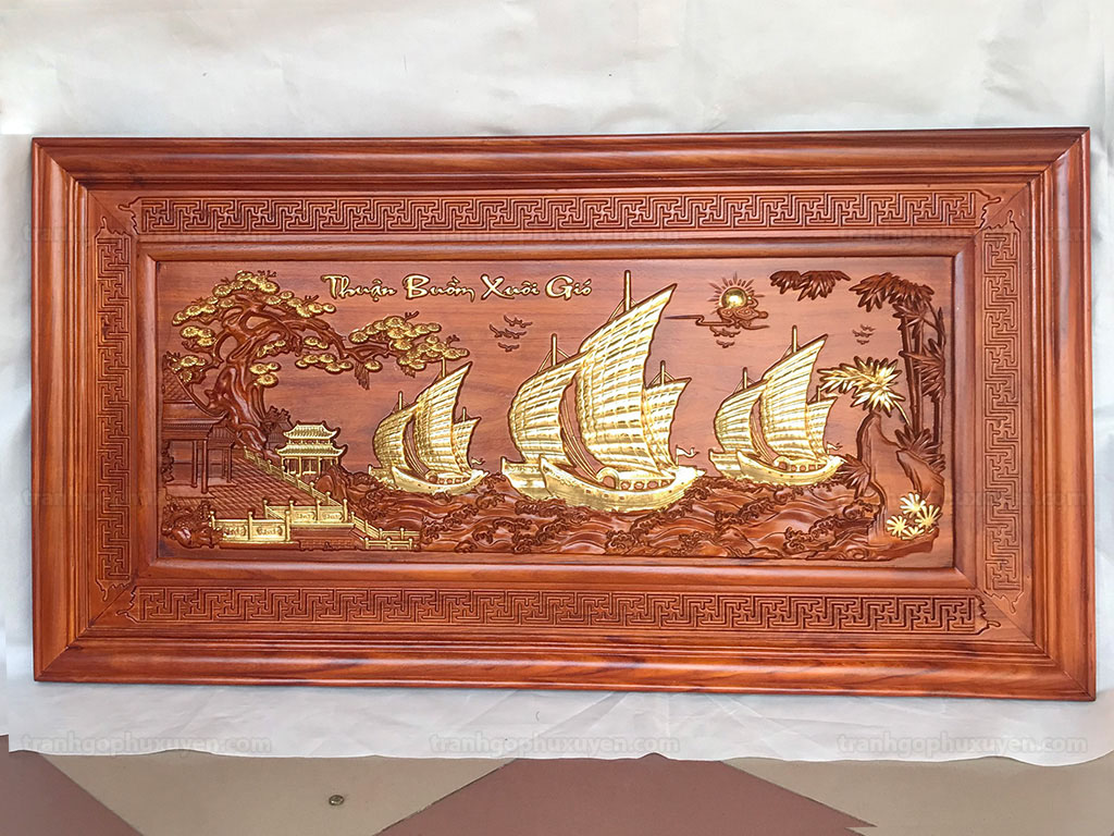 Tranh Gỗ Thuận Buồm Xuôi Gió Dát Vàng 1m27 - TGPX2174