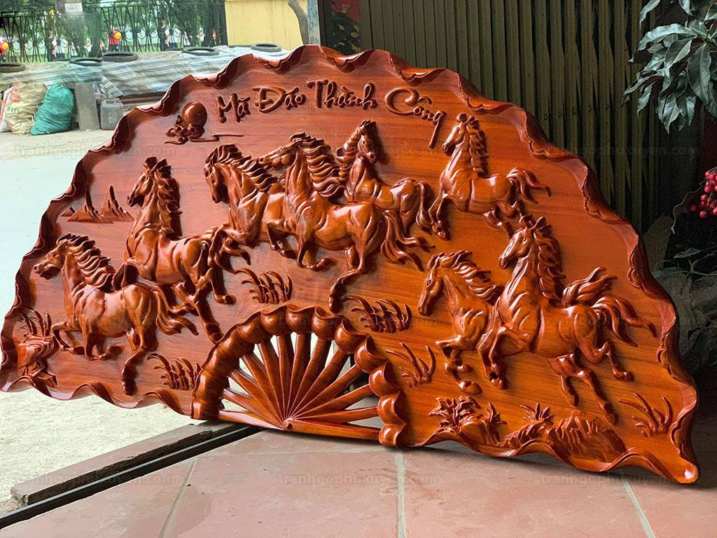 Tranh quạt gỗ Mã Đáo Thành Công đường kính 1m - TGPX2024