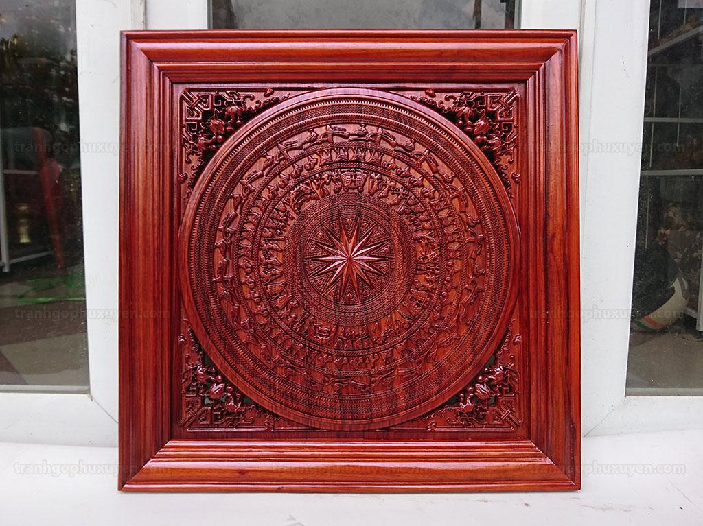 Tranh Trống đồng bằng gỗ hương cao cấp 61cm x 61cm - TGPX2210PU