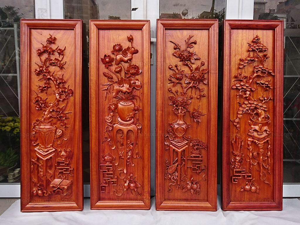 Bộ Tranh Tứ quý đông bích gỗ hương đục tay cao cấp - TGPX2143