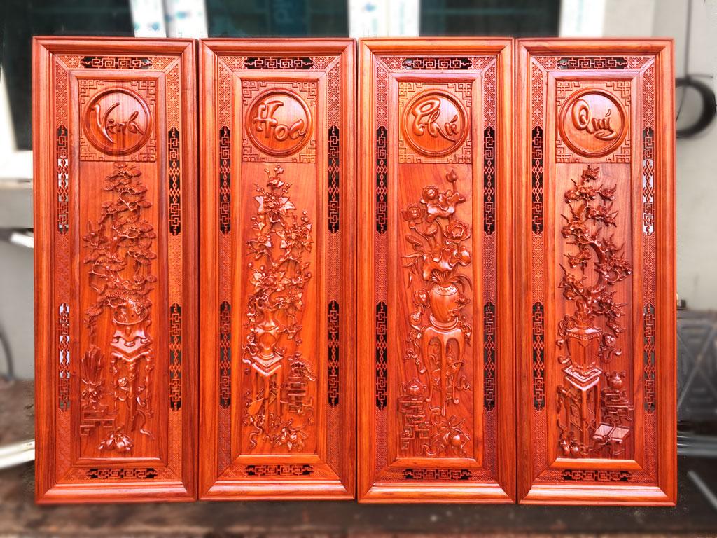 Tranh tứ quý Đông Bích gỗ hương Vinh Hoa Phú Quý 115cm x 39cm - TGPX2192PU
